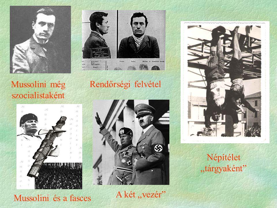 """ Az olasz fasizmus  Különbségek a német nácizmushoz:  tv.-es keretek fennmaradnak  kiépüléséhez hosszú idő szükséges  zsidóüldözés nem kemény  munkásság egy része Mussolinit támogatja  nem önálló (No.)  """"pozitívum : maffia ellen fellép  történelmi múlttal (római birodalom) való operálás  hat rá a Marinetti-féle futurizmus (minden rossz és bűnös, mindent le kell rombolni, hogy újjá lehessen építeni a világot)"""