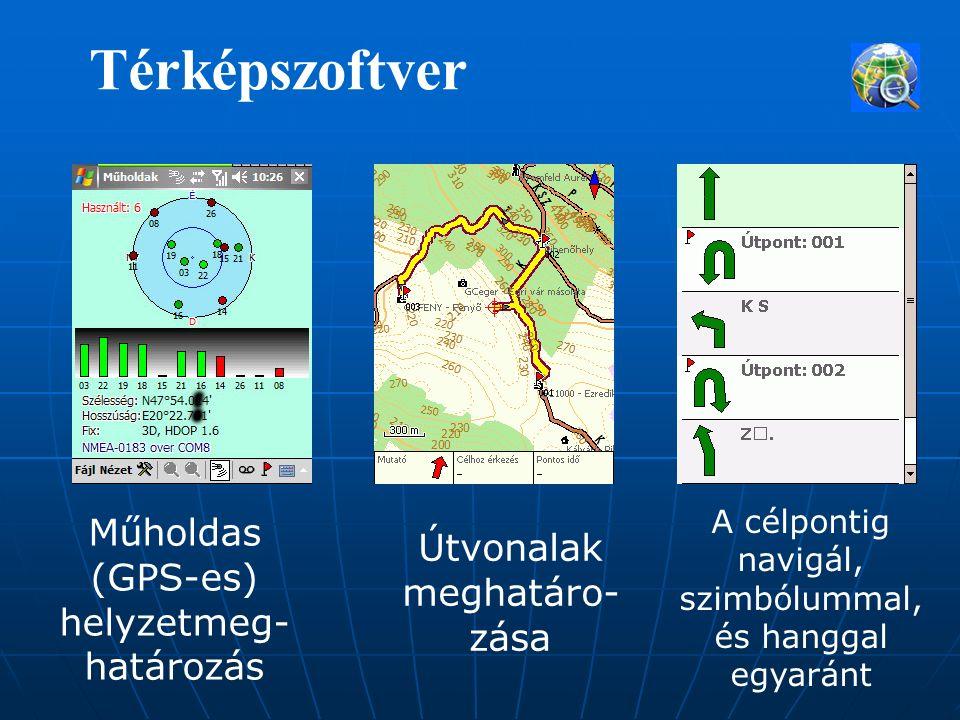 Térképszoftver Műholdas (GPS-es) helyzetmeg- határozás Útvonalak meghatáro- zása A célpontig navigál, szimbólummal, és hanggal egyaránt
