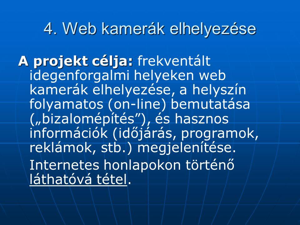 4. Web kamerák elhelyezése A projekt célja: A projekt célja: frekventált idegenforgalmi helyeken web kamerák elhelyezése, a helyszín folyamatos (on-li