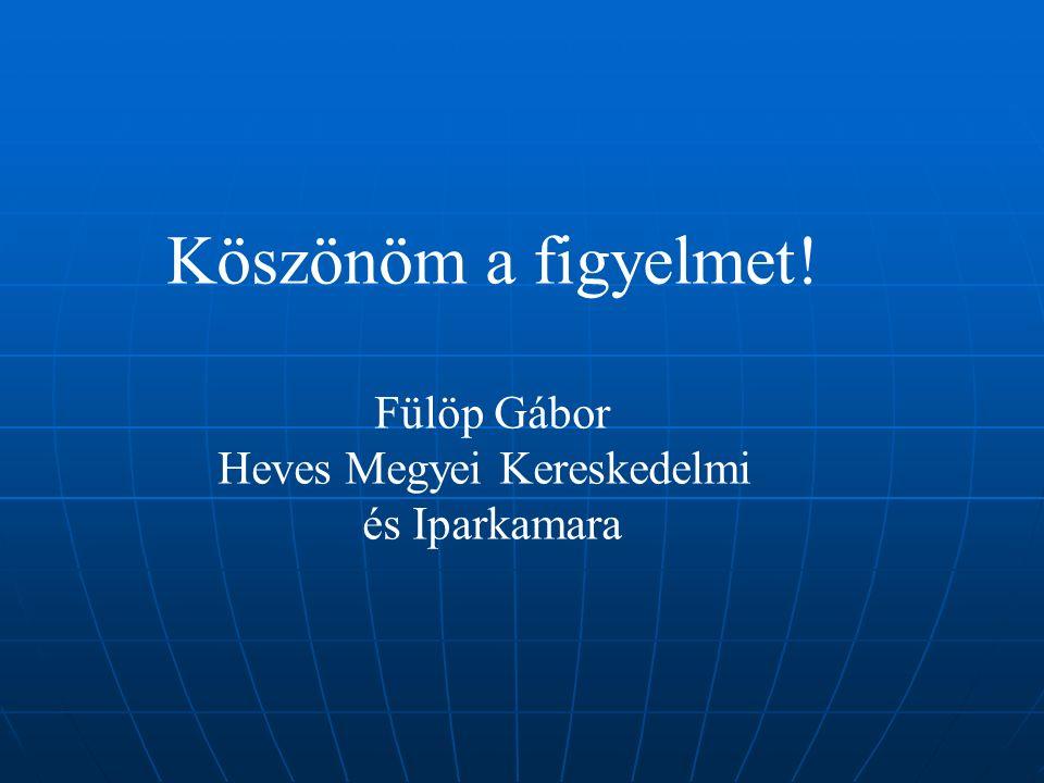 Köszönöm a figyelmet! Fülöp Gábor Heves Megyei Kereskedelmi és Iparkamara
