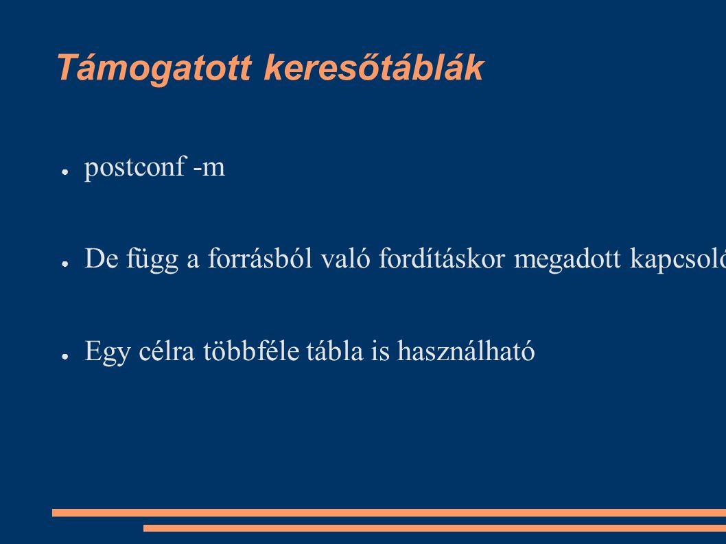 Támogatott keresőtáblák ● postconf -m ● De függ a forrásból való fordításkor megadott kapcsolóktól ● Egy célra többféle tábla is használható