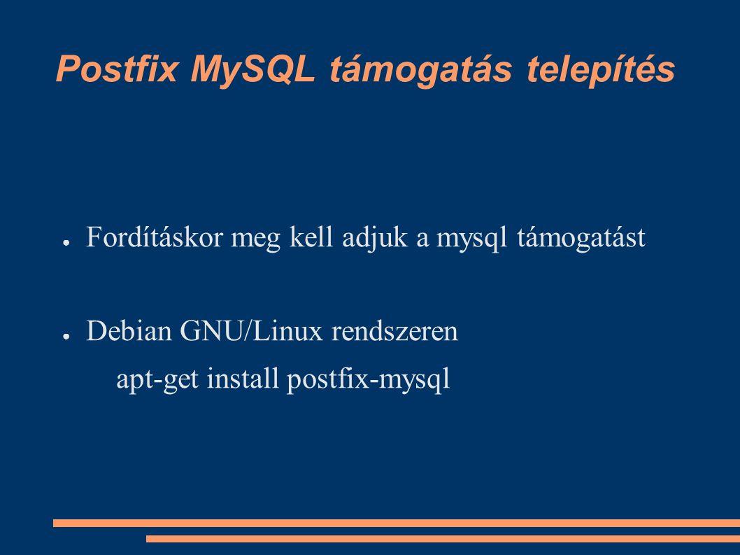Postfix MySQL támogatás telepítés ● Fordításkor meg kell adjuk a mysql támogatást ● Debian GNU/Linux rendszeren apt-get install postfix-mysql