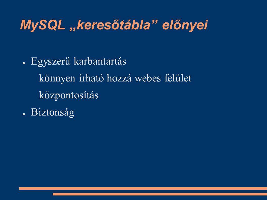 """MySQL """"keresőtábla előnyei ● Egyszerű karbantartás könnyen írható hozzá webes felület központosítás ● Biztonság"""