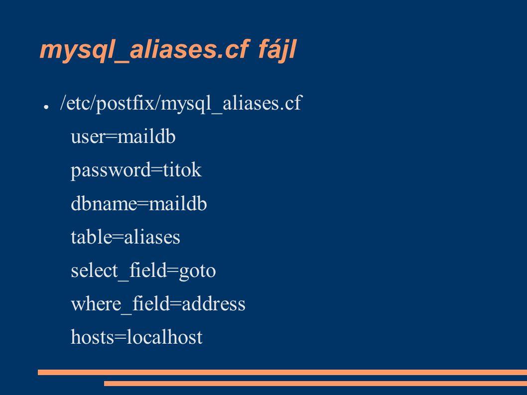 mysql_aliases.cf fájl ● /etc/postfix/mysql_aliases.cf user=maildb password=titok dbname=maildb table=aliases select_field=goto where_field=address hosts=localhost