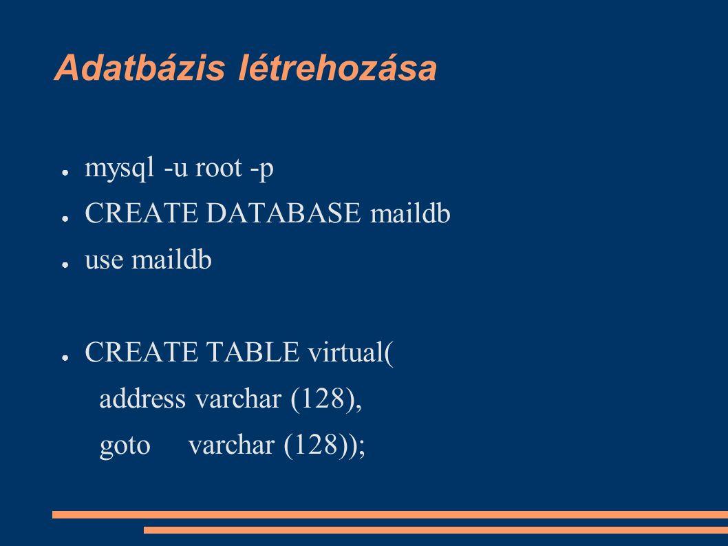 Adatbázis létrehozása ● mysql -u root -p ● CREATE DATABASE maildb ● use maildb ● CREATE TABLE virtual( address varchar (128), goto varchar (128));