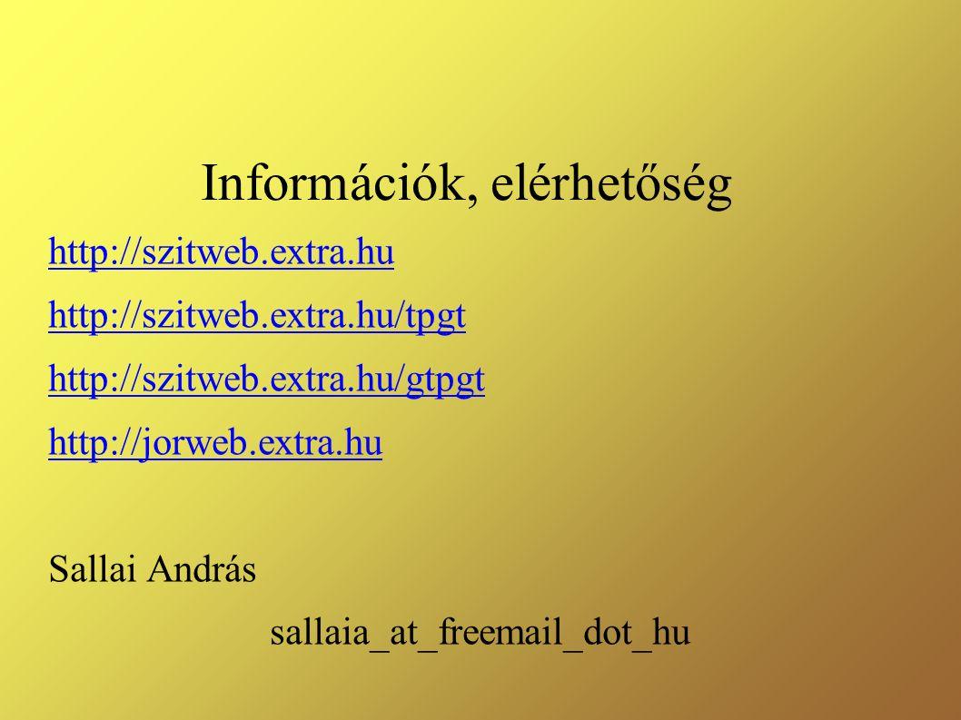 Információk, elérhetőség http://szitweb.extra.hu http://szitweb.extra.hu/tpgt http://szitweb.extra.hu/gtpgt http://jorweb.extra.hu Sallai András sallaia_at_freemail_dot_hu