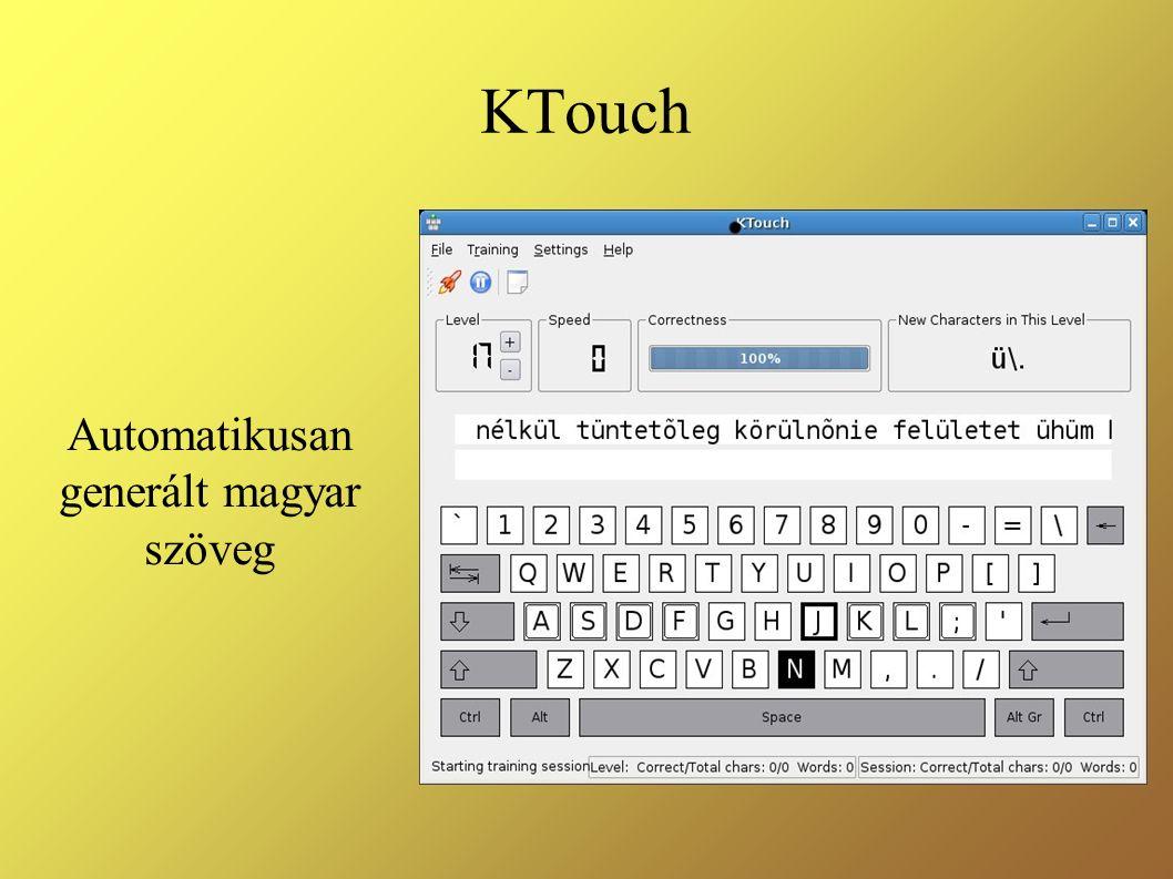 KTouch Automatikusan generált magyar szöveg