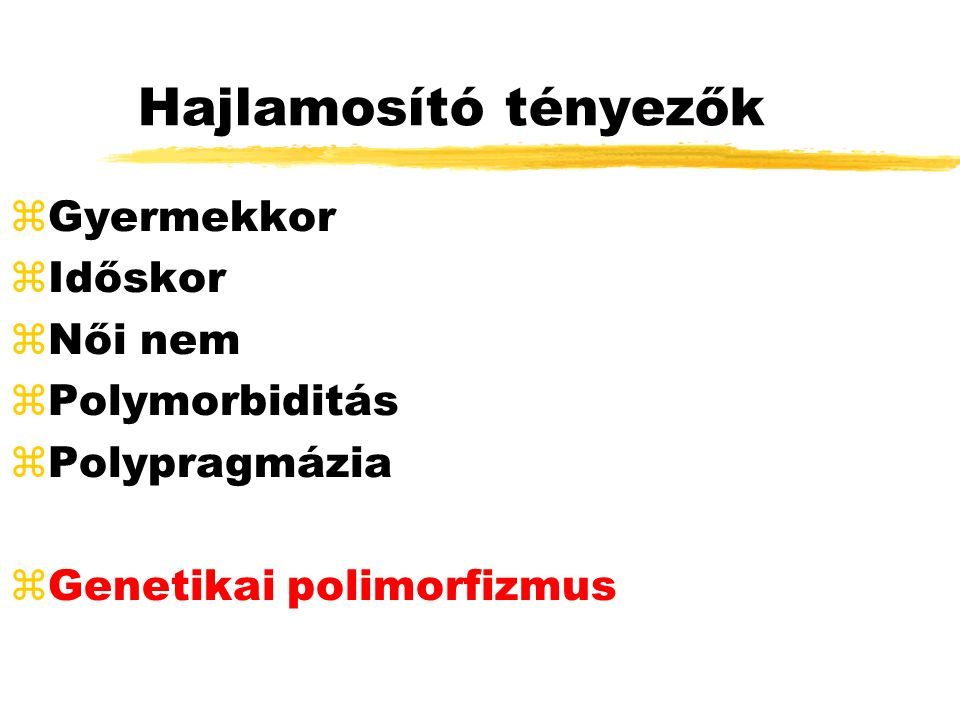 Csontvelő toxicitas TÜNETEK: vérzékenység, láz, infekciók BETEGSÉGEK: TCT-penia (pathia), anemia, agranulocytosis GYÓGYSZEREK: aszpirin, heparin, penicillin, chlorocid, SA, paracetamol, antidepresszánsok