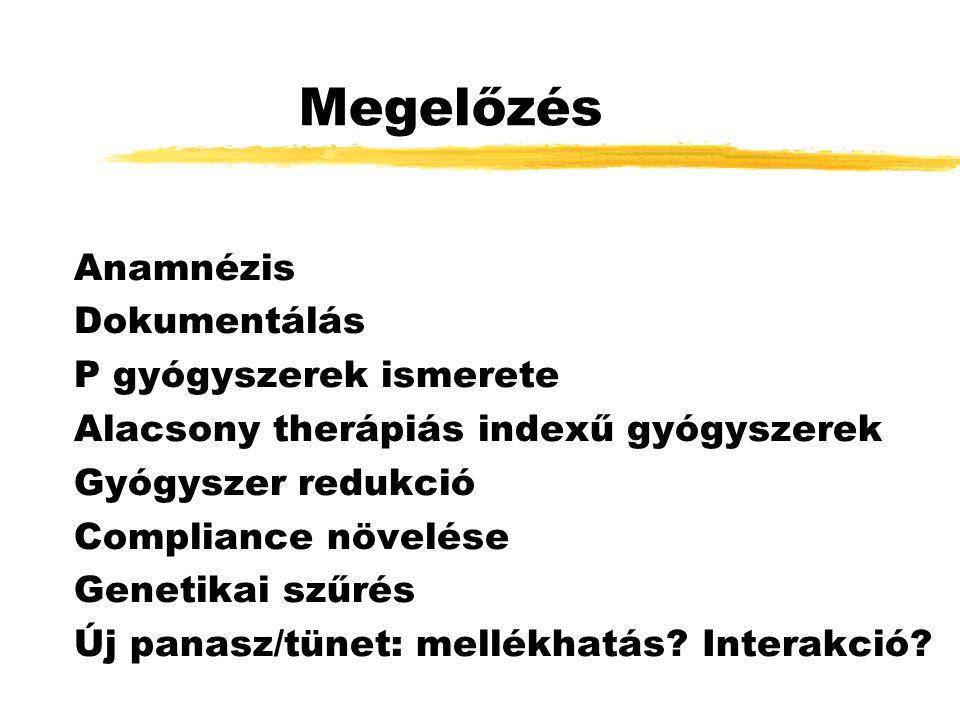 Megelőzés Anamnézis Dokumentálás P gyógyszerek ismerete Alacsony therápiás indexű gyógyszerek Gyógyszer redukció Compliance növelése Genetikai szűrés Új panasz/tünet: mellékhatás.