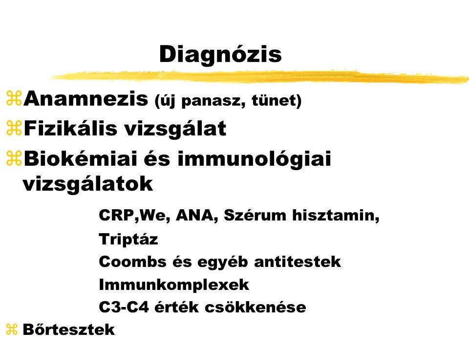 Diagnózis zAnamnezis (új panasz, tünet) zFizikális vizsgálat zBiokémiai és immunológiai vizsgálatok CRP,We, ANA, Szérum hisztamin, Triptáz Coombs és egyéb antitestek Immunkomplexek C3-C4 érték csökkenése zBőrtesztek