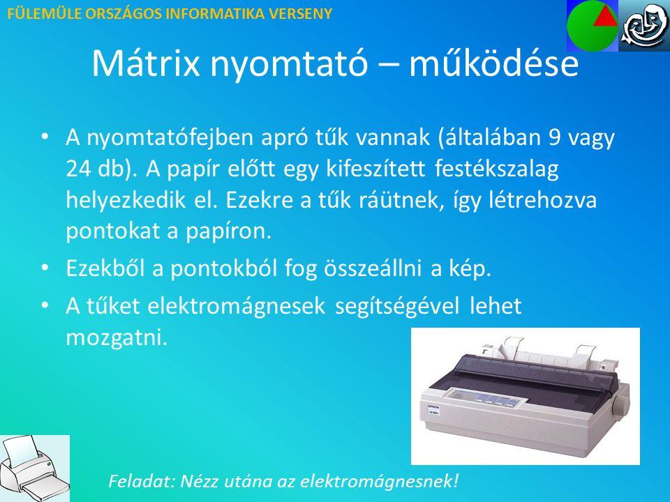 FÜLEMÜLE ORSZÁGOS INFORMATIKA VERSENY Mátrix nyomtató működése – videó