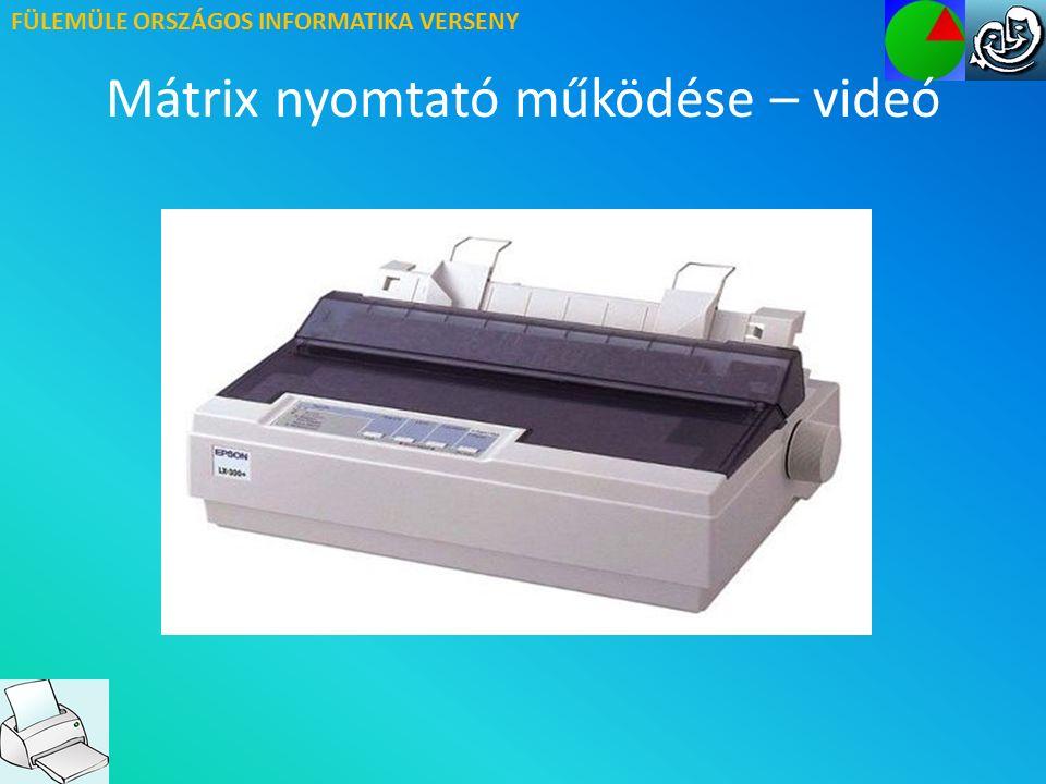 FÜLEMÜLE ORSZÁGOS INFORMATIKA VERSENY Mátrix nyomtató Előnyök – hátrányok ELŐNYEI: Nagyon olcsó Indigós nyomtatás HÁTRÁNYAI: Lassú nyomtatás Rossz minőség Zajos működés Nem tud színesben nyomtatni Feladat: Mire használják az indigót?