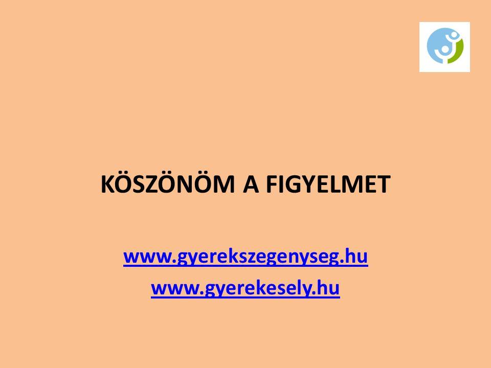 KÖSZÖNÖM A FIGYELMET www.gyerekszegenyseg.hu www.gyerekesely.hu