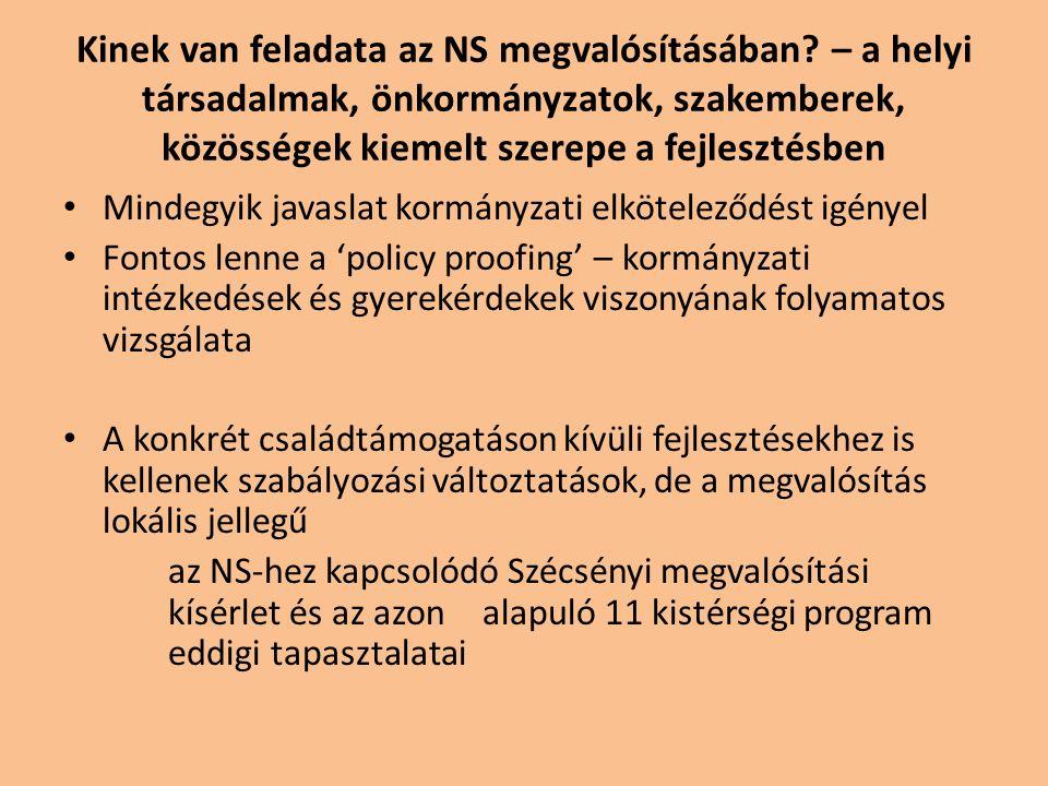 Kinek van feladata az NS megvalósításában? – a helyi társadalmak, önkormányzatok, szakemberek, közösségek kiemelt szerepe a fejlesztésben Mindegyik ja
