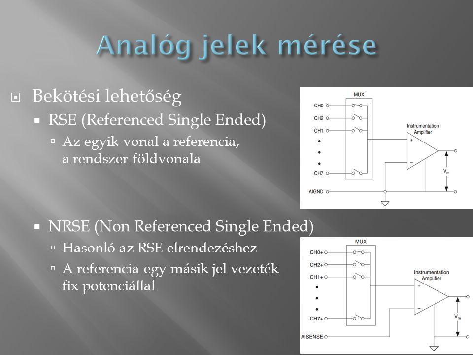  Bekötési lehetőség  RSE (Referenced Single Ended)  Az egyik vonal a referencia, a rendszer földvonala  NRSE (Non Referenced Single Ended)  Hasonló az RSE elrendezéshez  A referencia egy másik jel vezeték fix potenciállal 17