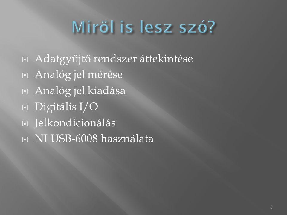  Adatgyűjtő rendszer áttekintése  Analóg jel mérése  Analóg jel kiadása  Digitális I/O  Jelkondicionálás  NI USB-6008 használata 2
