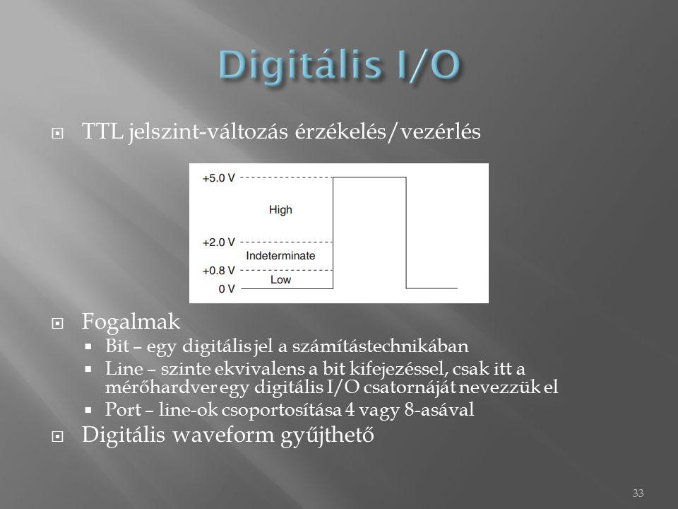  TTL jelszint-változás érzékelés/vezérlés  Fogalmak  Bit – egy digitális jel a számítástechnikában  Line – szinte ekvivalens a bit kifejezéssel, csak itt a mérőhardver egy digitális I/O csatornáját nevezzük el  Port – line-ok csoportosítása 4 vagy 8-asával  Digitális waveform gyűjthető 33
