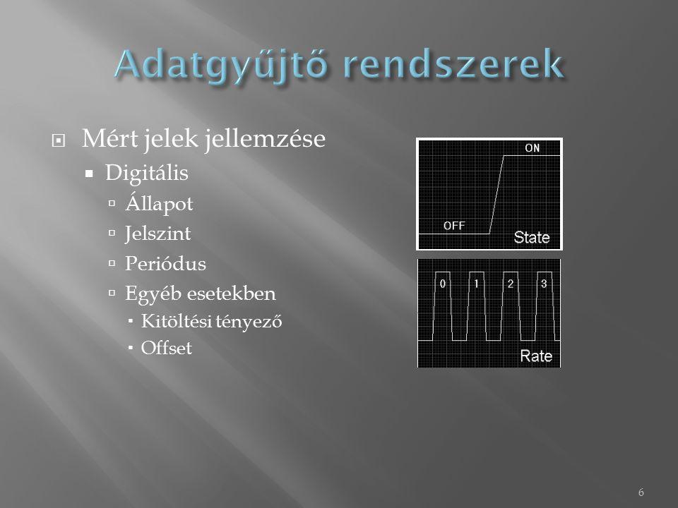  Mérőkártya általános felépítése 7 Csatlakozás feldolgozó számítógéphez I/O Csatlakozó sor Analóg input áramkör multiplexerrel, egyéb kondicionáló elemekkel DAC ADC Digitális I/O Counter áramkör Belső vezérlő Buffer Mikroproc.