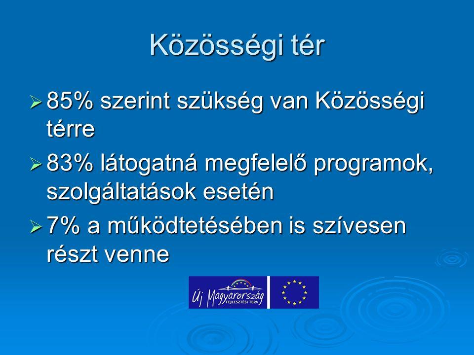 Közösségi tér  85% szerint szükség van Közösségi térre  83% látogatná megfelelő programok, szolgáltatások esetén  7% a működtetésében is szívesen r