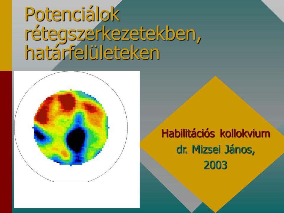 Új tudományos eredmények (tézisek) 1 ultravékony szigetelő félvezetőn: a félvezető kiürítésre törekszik, 2 ultravékony szigetelő félvezetőn: memória hatás, 3 ultravékony szigetelő félvezetőn: felületi töltés, alagútáram mérése, 4 új mérési módszerek és számítási eljárások D it meghatározására, 5 CPD valamint az SPV módszerek összehasonlítása, a sztatikus feltöltődés hatása, 6 új eljárások a a félvezető gázérzékelők működésében alapvetően fontos határfelületi potenciálok meghatározására, 7 félvezető gázérzékelők felületének aktiválása, a folyamat részletei, 8 félvezető gázérzékelők atmoszferikus körülmények között mérhető instabilitásai: a környezetre jellemzőek, 9 szelektív kémiai érzékelés lehetősége potenciál térképezéssel, 10 rezgőkondenzátoros potenciálmérés (térképezés) technológiai inhomogenitások kimutatására.