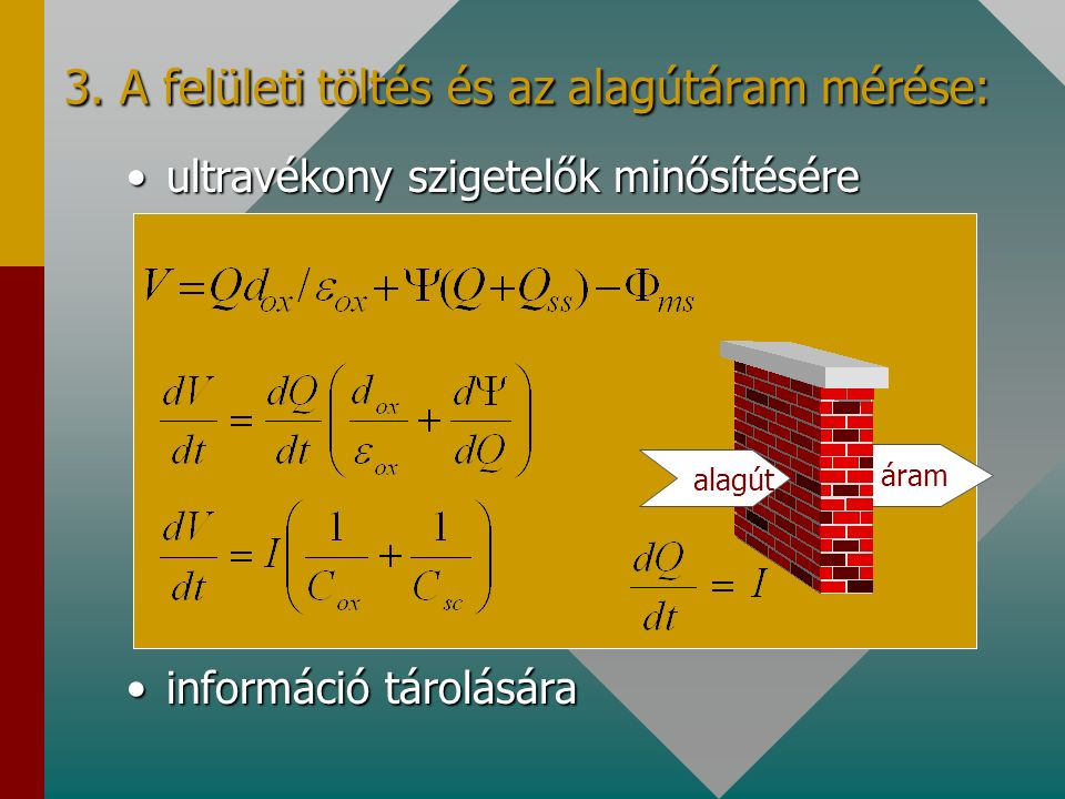 Potenciál tranziens (töltések eltávozása) elektrosztatikus kisüléssel feltöltött felületen I=4.4 nA/cm 2