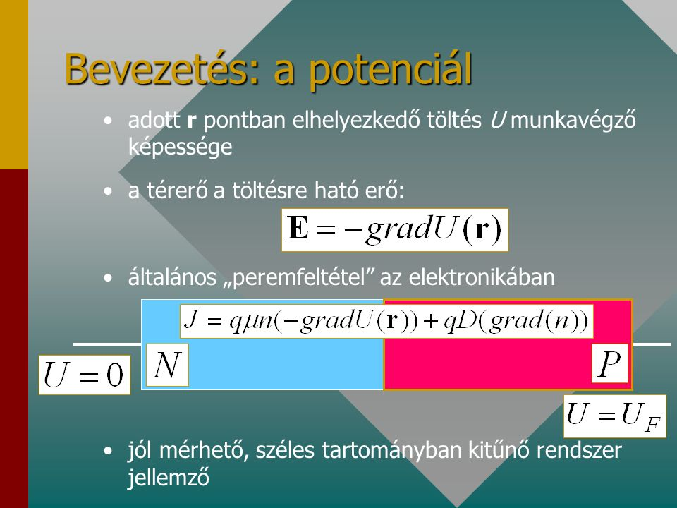 Potenciál eloszlás vastagréteg áramkörön U AB =5 V A A AB B