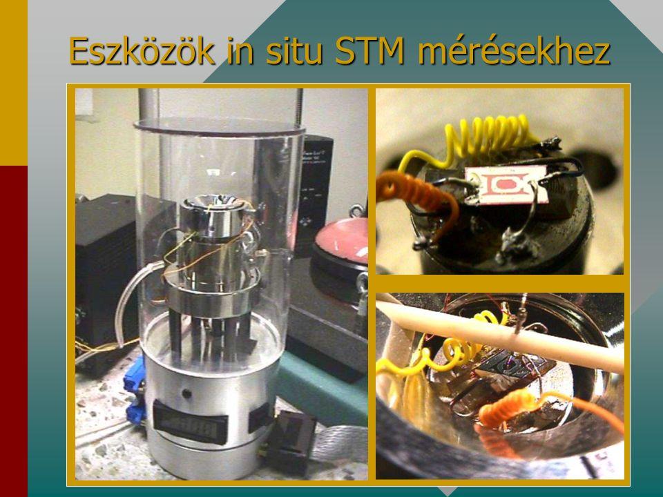 7.d. a kész érzékelő szerkezet (Pd-SnO 2 réteg) felületéről érzékelés közben felvett STM kép segítségével bebizonyítottam, hogy a működés (adszorpció-