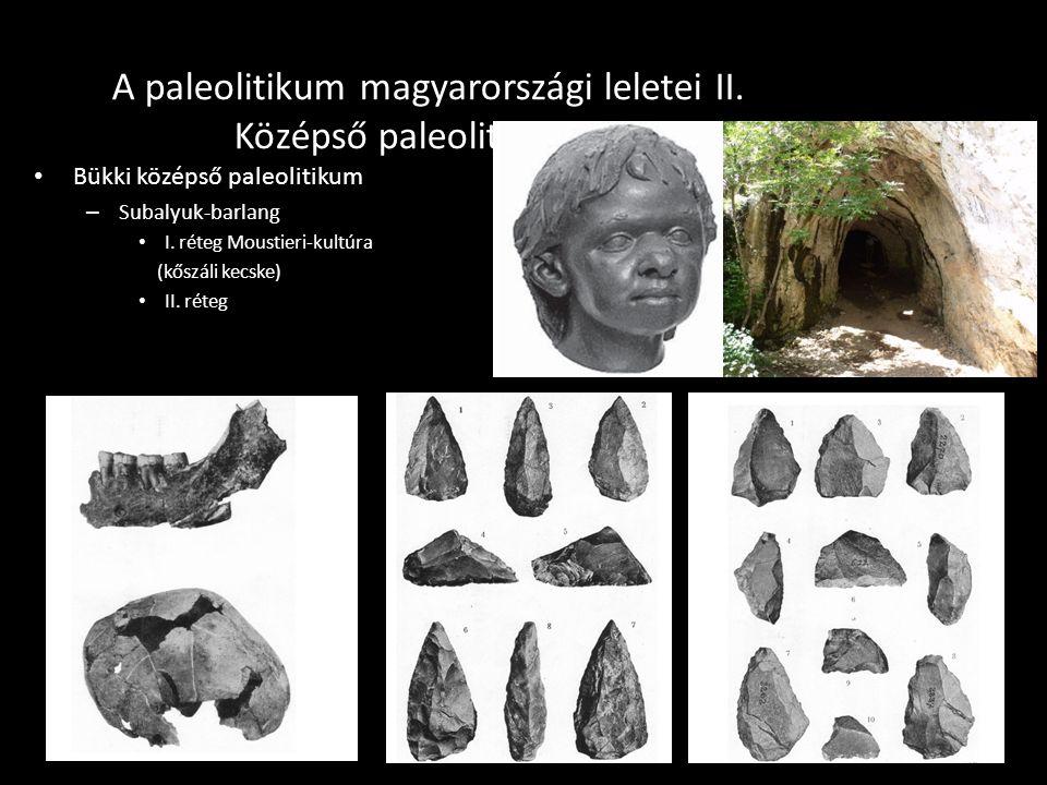 A paleolitikum magyarországi leletei II. Középső paleolitikum II. Bükki középső paleolitikum – Subalyuk-barlang I. réteg Moustieri-kultúra (kőszáli ke