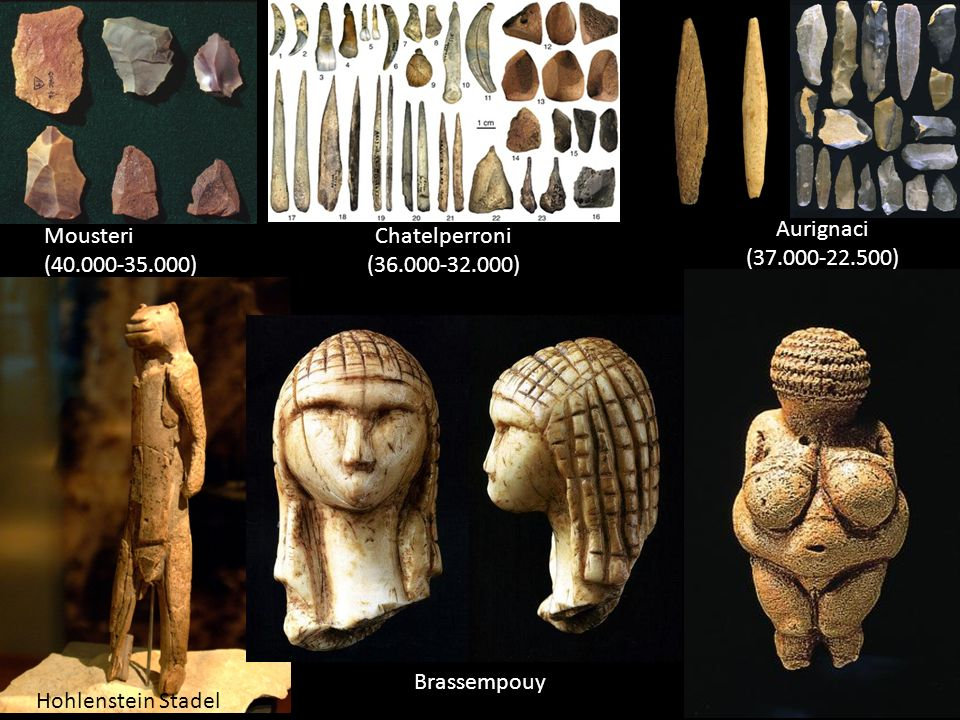 Mousteri (40.000-35.000) Chatelperroni (36.000-32.000) Aurignaci (37.000-22.500) Hohlenstein Stadel Brassempouy