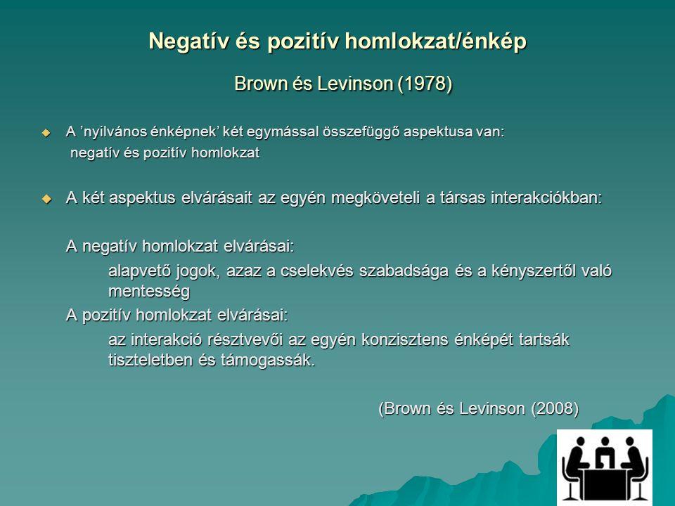 Negatív és pozitív homlokzat/énkép Brown és Levinson (1978)  A 'nyilvános énképnek' két egymással összefüggő aspektusa van: negatív és pozitív homlokzat negatív és pozitív homlokzat  A két aspektus elvárásait az egyén megköveteli a társas interakciókban: A negatív homlokzat elvárásai: alapvető jogok, azaz a cselekvés szabadsága és a kényszertől való mentesség A pozitív homlokzat elvárásai: az interakció résztvevői az egyén konzisztens énképét tartsák tiszteletben és támogassák.