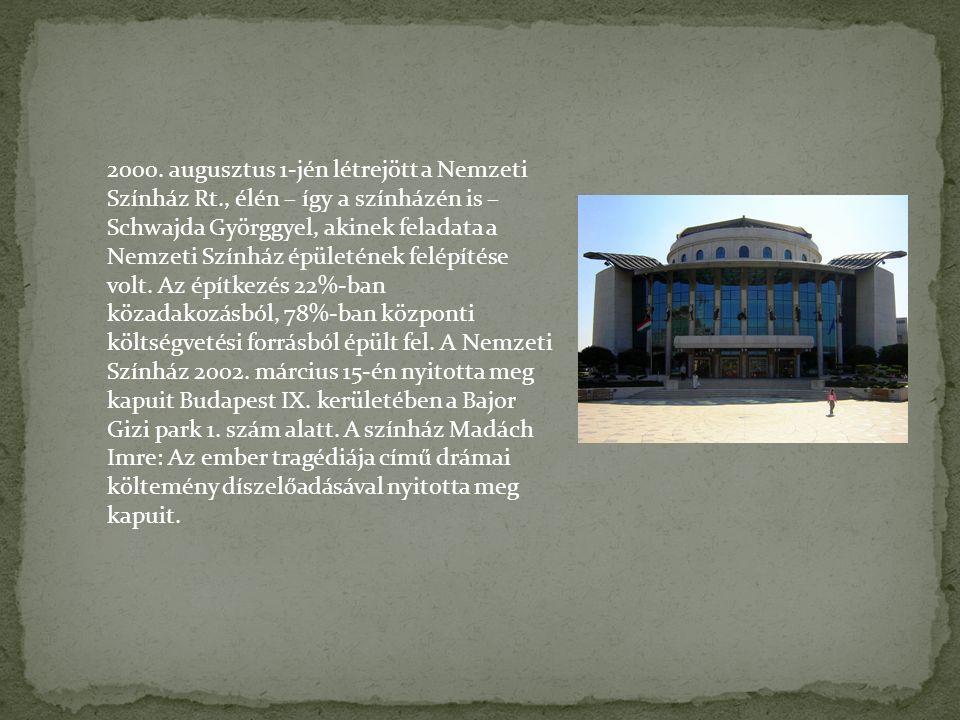 2000. augusztus 1-jén létrejött a Nemzeti Színház Rt., élén – így a színházén is – Schwajda Györggyel, akinek feladata a Nemzeti Színház épületének fe