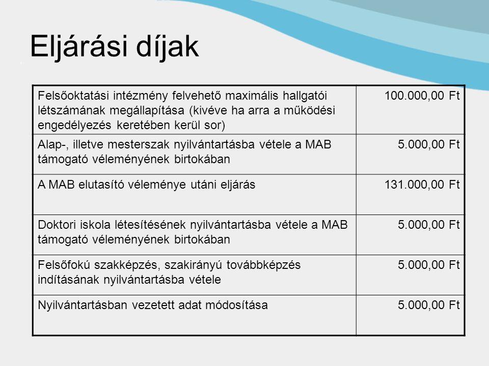 Eljárási díjak Felsőoktatási intézmény felvehető maximális hallgatói létszámának megállapítása (kivéve ha arra a működési engedélyezés keretében kerül sor) 100.000,00 Ft Alap-, illetve mesterszak nyilvántartásba vétele a MAB támogató véleményének birtokában 5.000,00 Ft A MAB elutasító véleménye utáni eljárás131.000,00 Ft Doktori iskola létesítésének nyilvántartásba vétele a MAB támogató véleményének birtokában 5.000,00 Ft Felsőfokú szakképzés, szakirányú továbbképzés indításának nyilvántartásba vétele 5.000,00 Ft Nyilvántartásban vezetett adat módosítása5.000,00 Ft