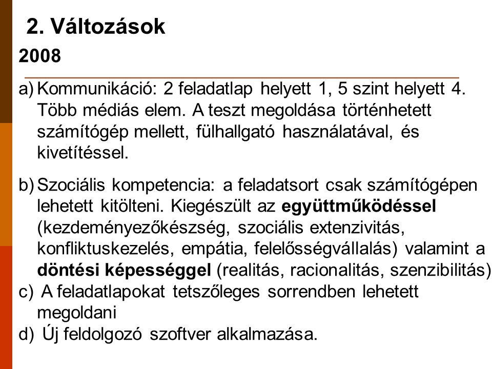 2. Változások 2008 a)Kommunikáció: 2 feladatlap helyett 1, 5 szint helyett 4.