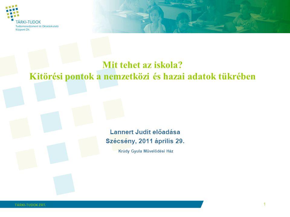 1 TÁRKI-TUDOK ZRT. Mit tehet az iskola? Kitörési pontok a nemzetközi és hazai adatok tükrében Lannert Judit előadása Szécsény, 2011 április 29. Krúdy