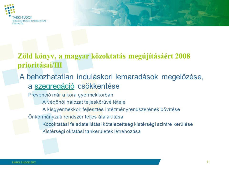 11 TÁRKI-TUDOK ZRT. Zöld könyv, a magyar közoktatás megújításáért 2008 prioritásai/III A behozhatatlan induláskori lemaradások megelőzése, a szegregác