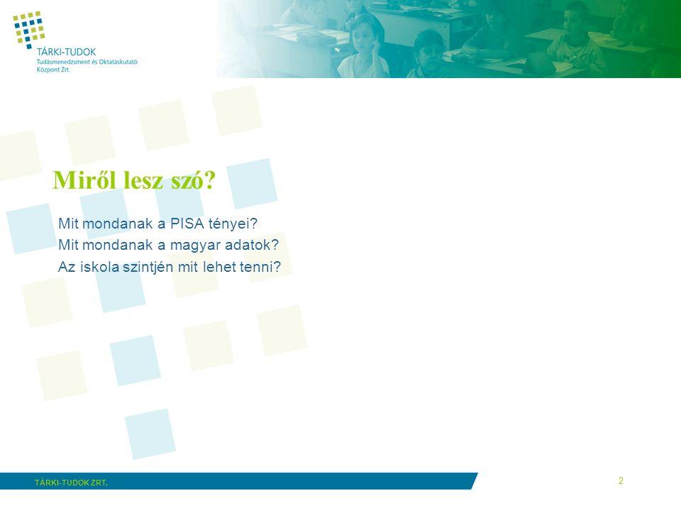 2 TÁRKI-TUDOK ZRT. Miről lesz szó? Mit mondanak a PISA tényei? Mit mondanak a magyar adatok? Az iskola szintjén mit lehet tenni?