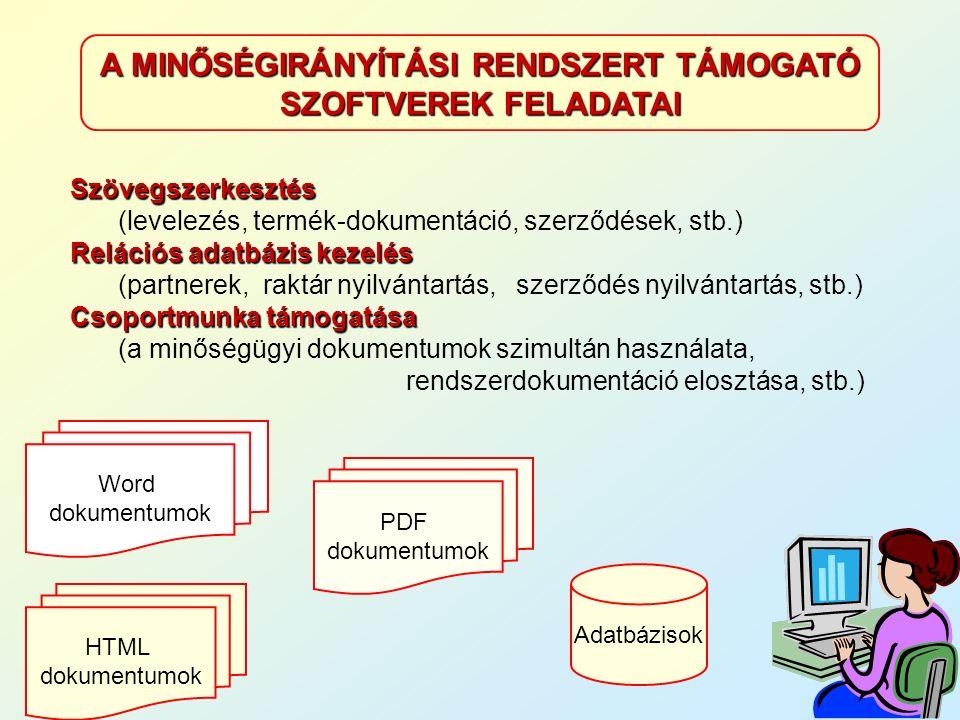 A MINŐSÉGIRÁNYÍTÁSI RENDSZERT TÁMOGATÓ SZOFTVEREK FELADATAI Adatbázisok Word dokumentumok PDF dokumentumok HTML dokumentumok Szövegszerkesztés Szövegszerkesztés (levelezés, termék-dokumentáció, szerződések, stb.) Relációs adatbázis kezelés (partnerek, raktár nyilvántartás, szerződés nyilvántartás, stb.) Csoportmunka támogatása (a minőségügyi dokumentumok szimultán használata, rendszerdokumentáció elosztása, stb.)