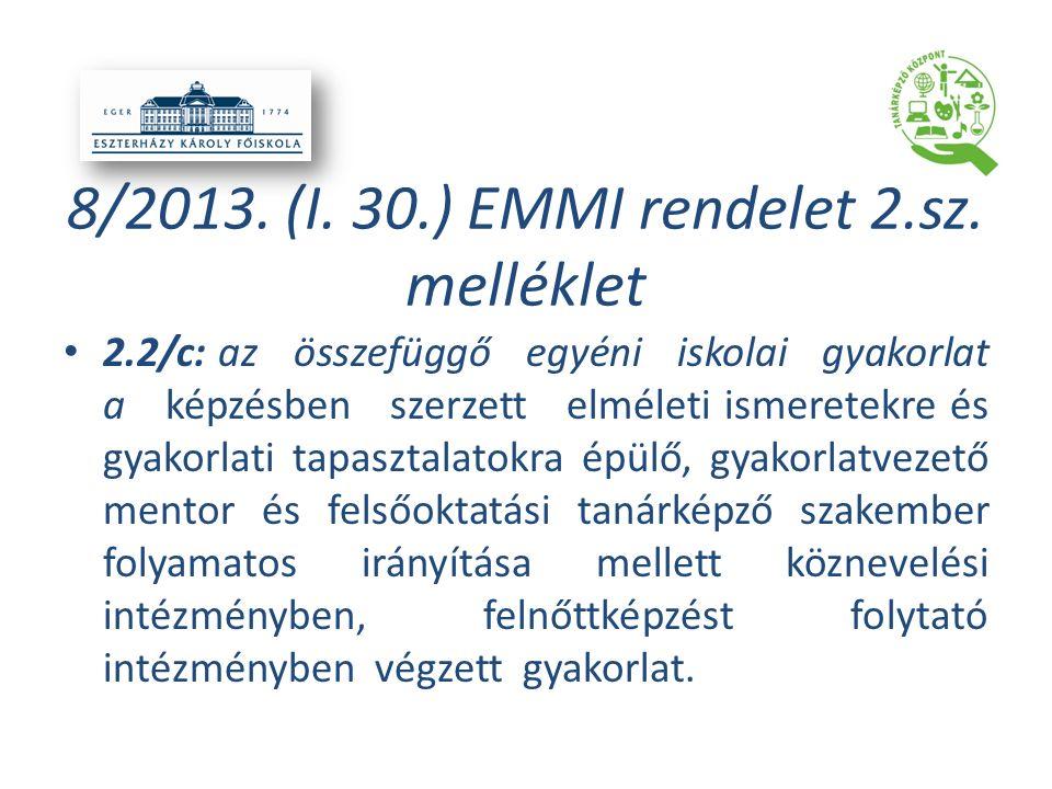 8/2013. (I. 30.) EMMI rendelet 2.sz. melléklet 2.2/c: az összefüggő egyéni iskolai gyakorlat a képzésben szerzett elméleti ismeretekre és gyakorlati t
