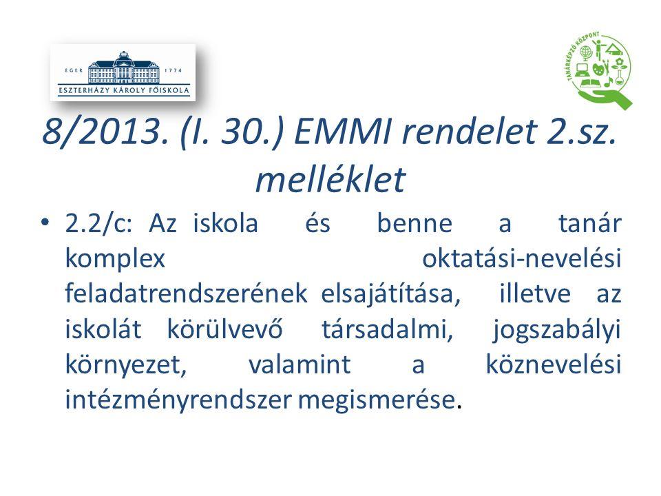 8/2013. (I. 30.) EMMI rendelet 2.sz. melléklet 2.2/c: Az iskola és benne a tanár komplex oktatási-nevelési feladatrendszerének elsajátítása, illetve a