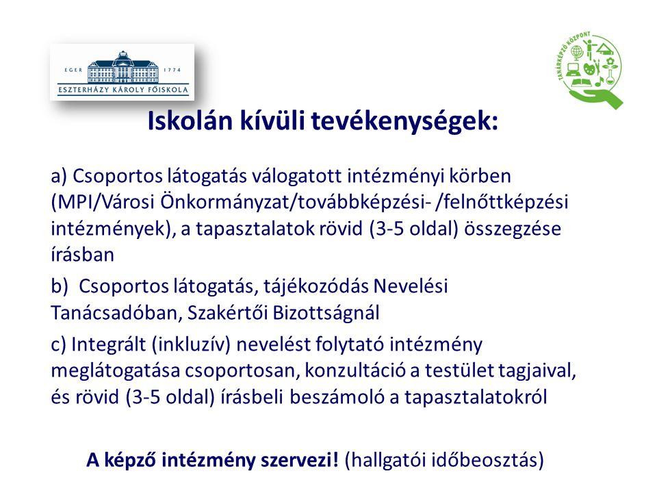 Iskolán kívüli tevékenységek: a) Csoportos látogatás válogatott intézményi körben (MPI/Városi Önkormányzat/továbbképzési- /felnőttképzési intézmények)