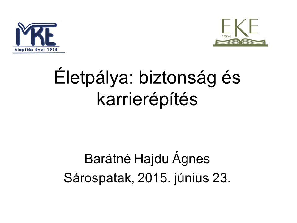 Életpálya: biztonság és karrierépítés Barátné Hajdu Ágnes Sárospatak, 2015. június 23.
