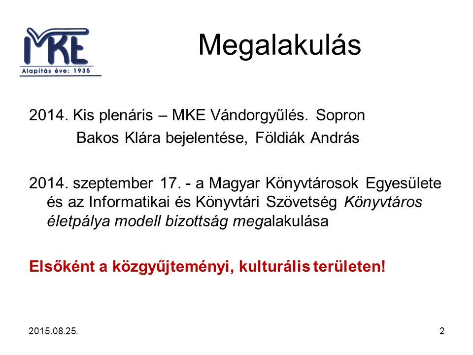 Megalakulás 2014. Kis plenáris – MKE Vándorgyűlés.