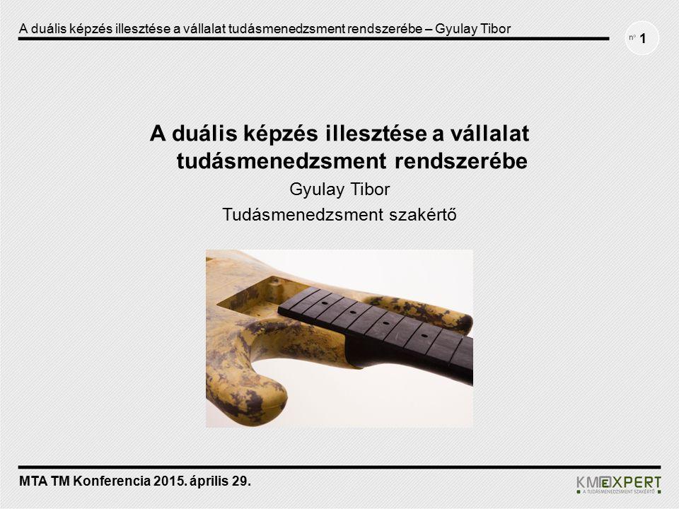 1 A duális képzés illesztése a vállalat tudásmenedzsment rendszerébe Gyulay Tibor Tudásmenedzsment szakértő