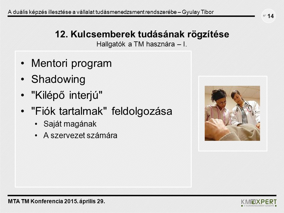 12. Kulcsemberek tudásának rögzítése Hallgatók a TM hasznára – I. Mentori program Shadowing
