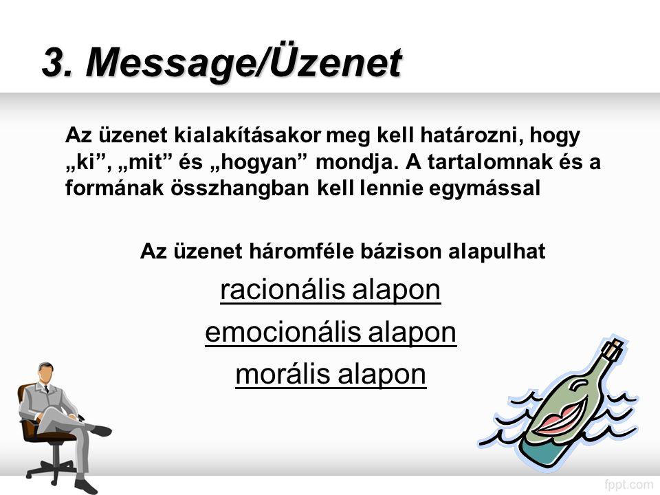 """3. Message/Üzenet Az üzenet kialakításakor meg kell határozni, hogy """"ki , """"mit és """"hogyan mondja."""