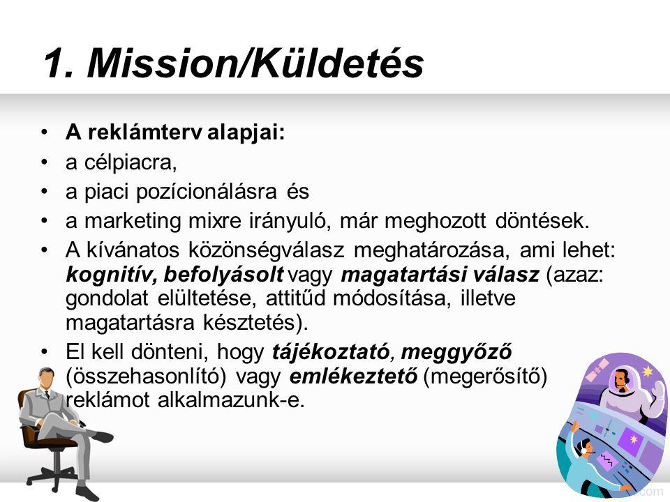 1. Mission/Küldetés A reklámterv alapjai: a célpiacra, a piaci pozícionálásra és a marketing mixre irányuló, már meghozott döntések. A kívánatos közön