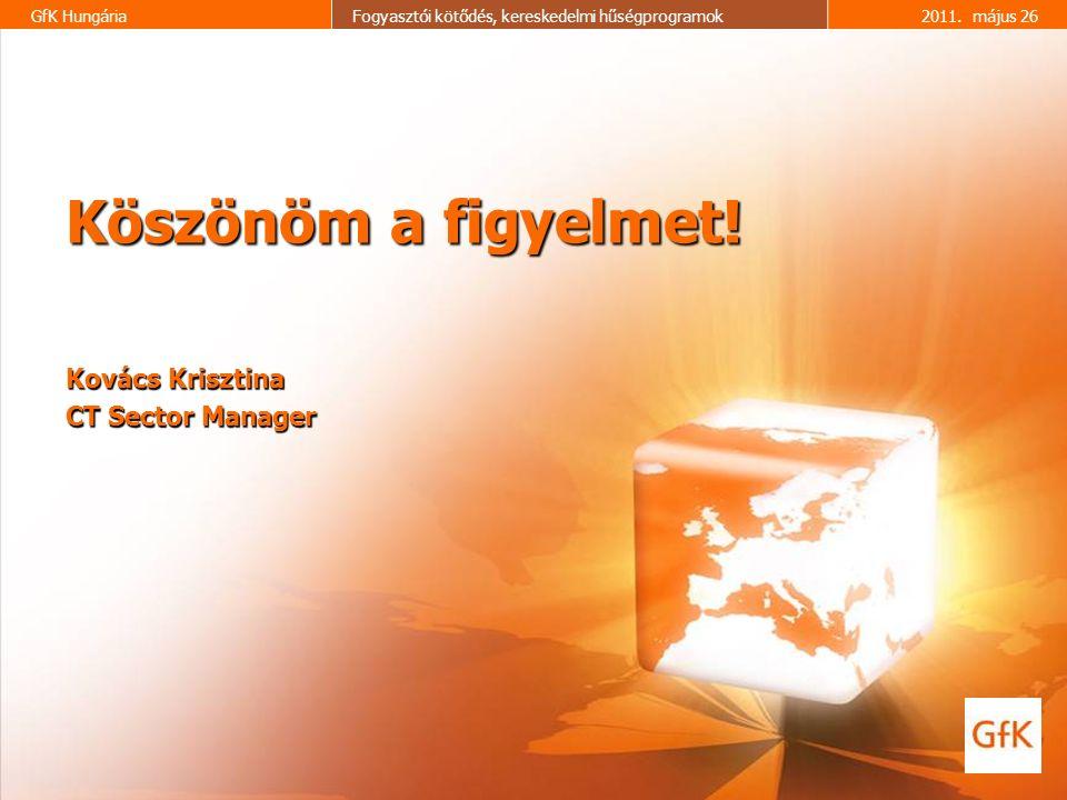 17 GfK HungáriaFogyasztói kötődés, kereskedelmi hűségprogramok2011. május 26 Köszönöm a figyelmet! Kovács Krisztina CT Sector Manager
