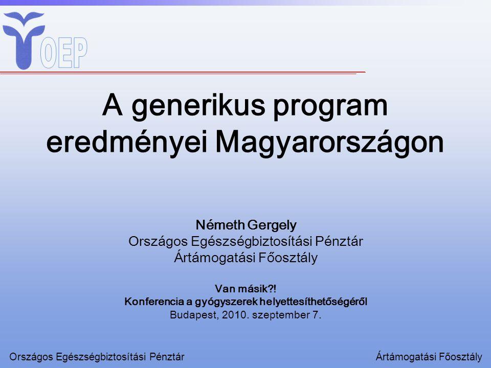 A generikus program eredményei Magyarországon Németh Gergely Országos Egészségbiztosítási Pénztár Ártámogatási Főosztály Van másik .