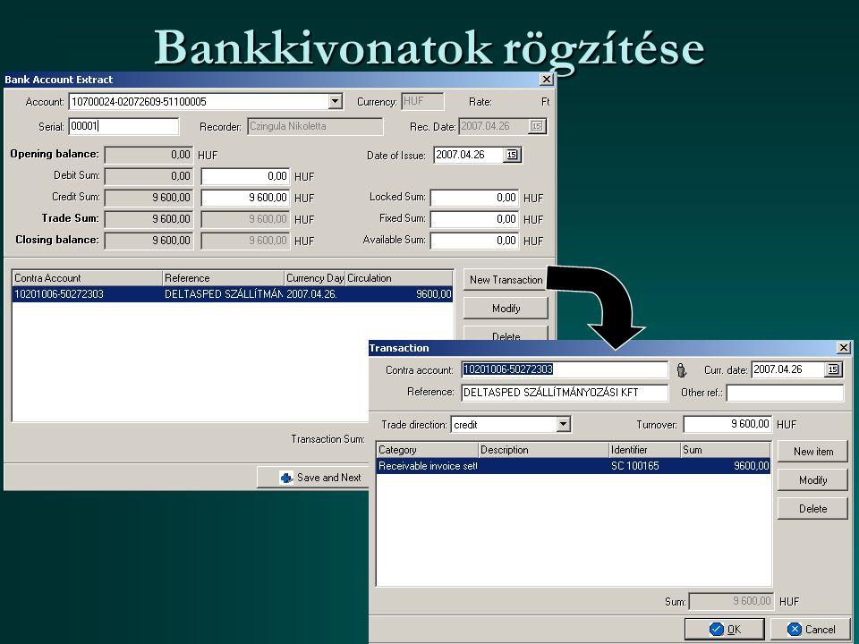 Bankkivonatok rögzítése