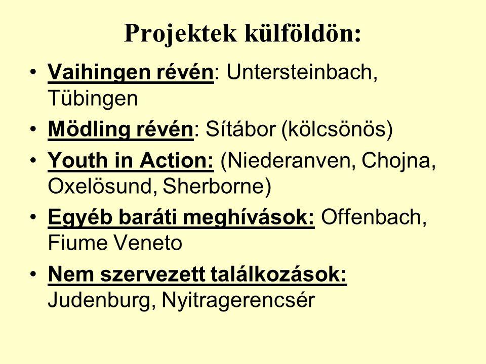Közreműködésünkkel: Szemináriumokon való részvétel –Ciprus – 2 fő (Következmény: svéd csoport) –Trieszt – 1 fő –Sherborne – 2 fő Egyéb rendezvények –Chojna –…..